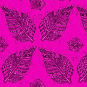 Zen feather hot pink