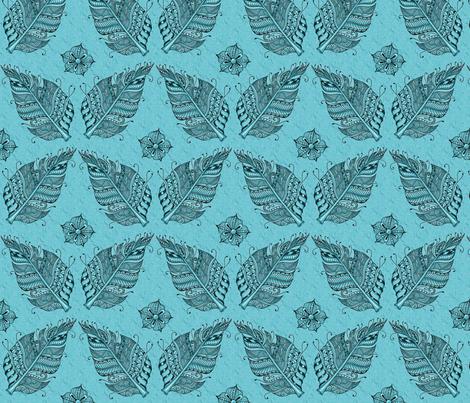 Zen feather teal fabric by jennablackzen on Spoonflower - custom fabric