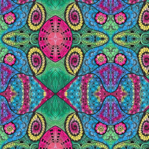 Tie Dye Doodle--Pink and Green