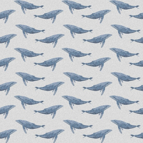 whale ocean animal whales nautical fabric grey