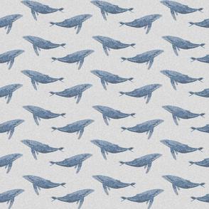 whale ocean animal whales nautical fabric grey