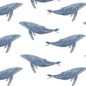 whale ocean animal whales nautical fabric white