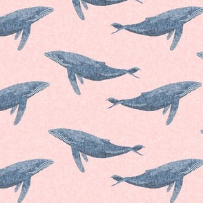 whale ocean animal whales nautical fabric pink