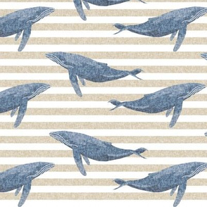 whale ocean animal whales nautical fabric stripe tan