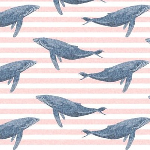 whale ocean animal whales nautical fabric stripe light pink