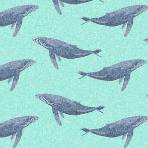 whale ocean animal whales nautical fabric blue