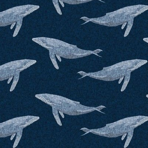 whale ocean animal whales nautical fabric navy
