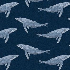whale ocean animal whales nautical fabric navy