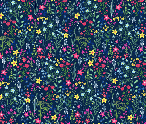Hand painted meadow dark ground fabric by jill_o_connor on Spoonflower - custom fabric