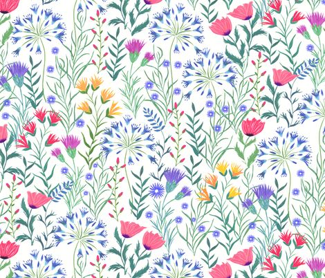 Hand painted Summer Meadow fabric by jill_o_connor on Spoonflower - custom fabric