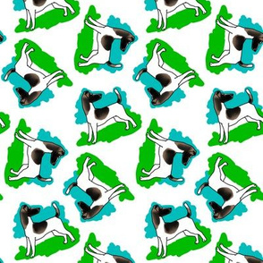 1950s Style Fox Terrier in Blue and Green