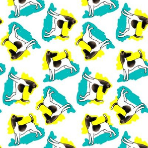 1950s Style Fox Terrier in Blue and Yellow