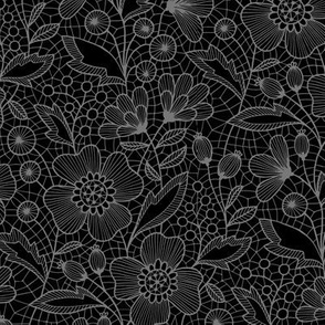 Floral lace (gray on black)