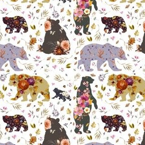 "4"" Autumn Floral Patchwork Bears"