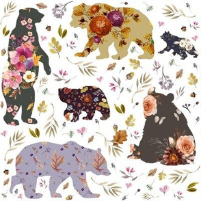 "8"" Autumn Floral Patchwork Bears"