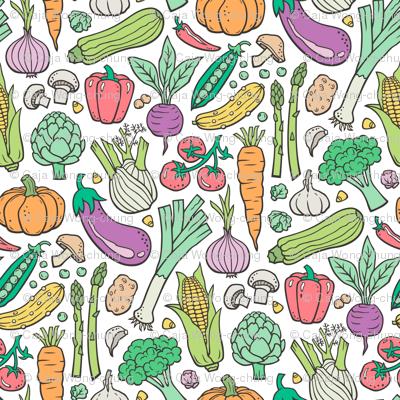 Vegetables Food Doodle on White