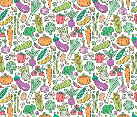 Vegetables Food Doodle on White fabric by caja_design on Spoonflower - custom fabric