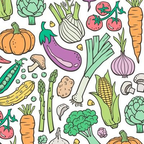 Vegetables Food Doodle on White