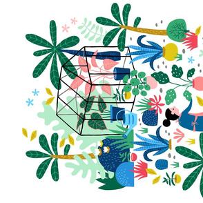 Greenhouse colorful garden tea towel