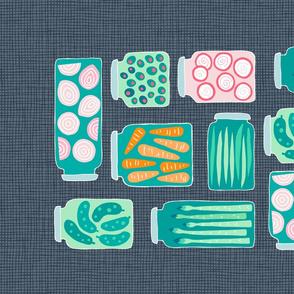 pickled veggies  tea towel