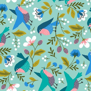 Spring birds with flowers (rotated)