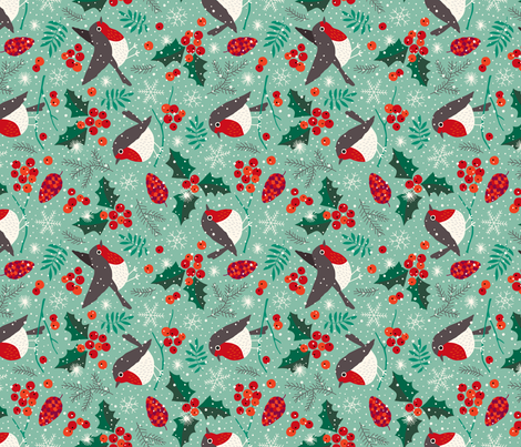 Christmas birds in snow (rotated) fabric by heleen_vd_thillart on Spoonflower - custom fabric