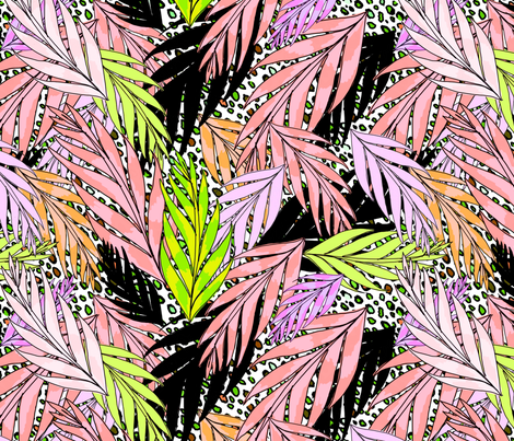 neon jungle in vintage pink fabric by beesocks on Spoonflower - custom fabric