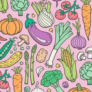 Vegetables Food Doodle on Light Pink
