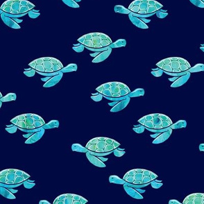 sea turtle - aqua on blue