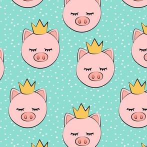 princess/prince pig - dark aqua