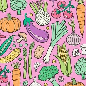 Vegetables Food Doodle on Pink