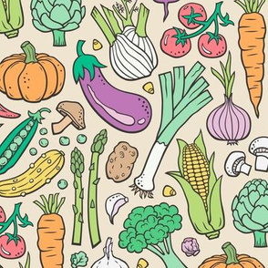 Vegetables Food Doodle on Light Yellow