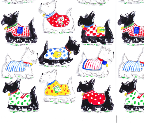 Scottie & Westie Dogs with Coats fabric by poppi_and_lucy on Spoonflower - custom fabric