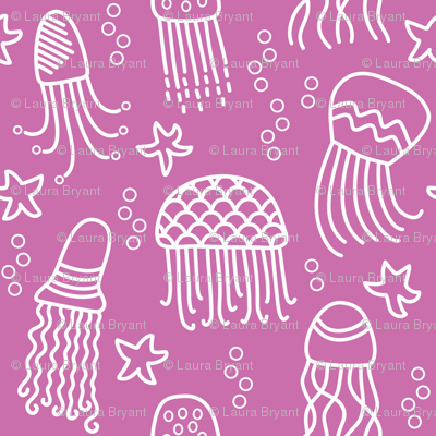 Jellyfish doodle white on pink