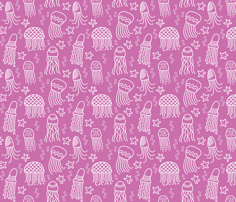 Jellyfish doodle white on pink fabric by inklaura on Spoonflower - custom fabric
