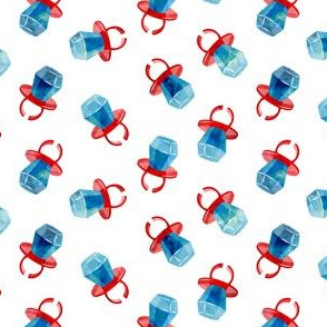 "(1"" scale) candy ring - blue on red - sweets"