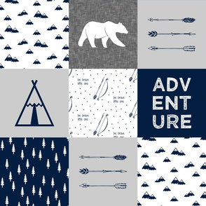 adventure wholecloth quilt top (navy and grey) C18BS