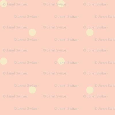 peachy-pink and cream polka dot