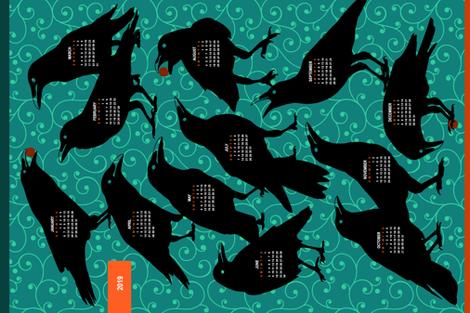 2019 Calendar Tea Towel - Raven fabric by mariafaithgarcia on Spoonflower - custom fabric