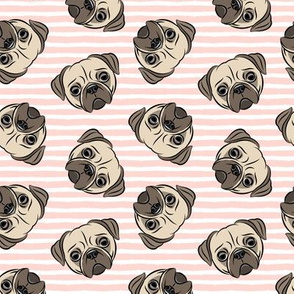 Pugs on light pink stripes - pug cute dog face
