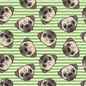 Pugs on green stripes - pug cute dog face
