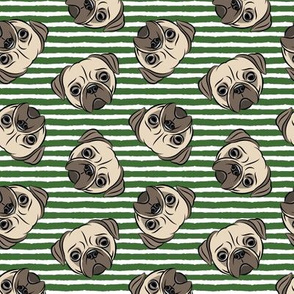Pugs on pine green stripes - pug cute dog face