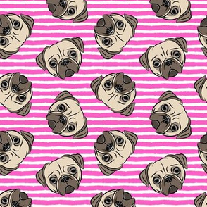 Pugs on hot pink stripes - pug cute dog face