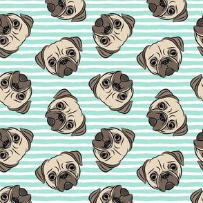 Pugs on aqua stripes  - pug cute dog face