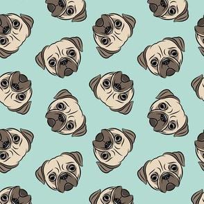 Pugs on dark mint - pug cute dog face
