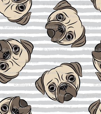 Pugs on grey stripes - pug cute dog face
