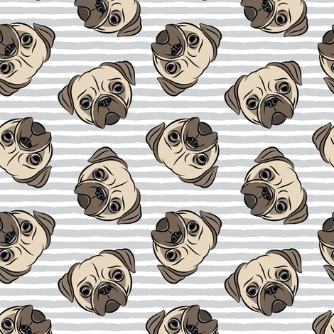 Pugs on grey stripes - pug cute dog face fabric by littlearrowdesign on Spoonflower - custom fabric