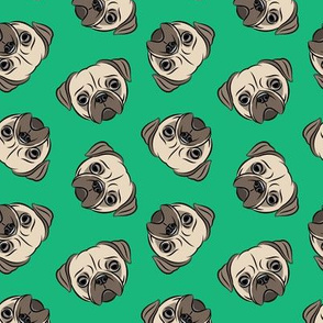 Pugs on green - pug cute dog face