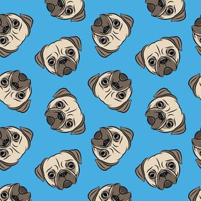 Pugs on blue - pug cute dog face