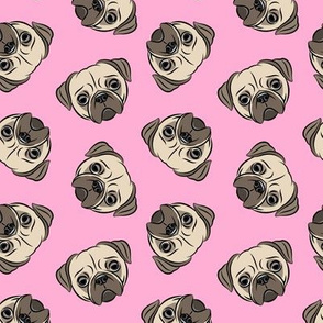 Pugs on pink - pug cute dog face